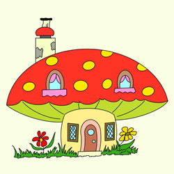 How to Draw a Cartoon Mushroom House Step by Step