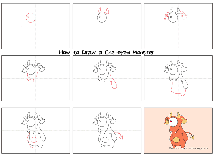 How to Draw a One-eyed Monster Step by Step