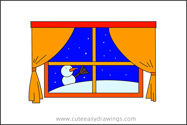 How to Draw a Snow Scene Outside Window Step by Step