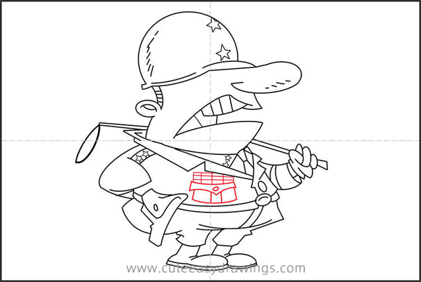 How to Draw Cartoon General Patton Step by Step