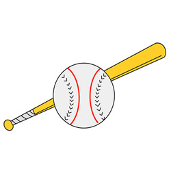 How to Draw a Baseball Bat and Ball Step by Step