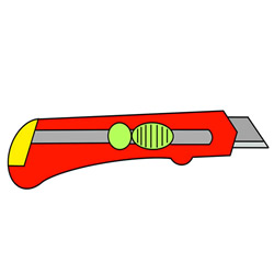 How to Draw a Utility Knife Step by Step