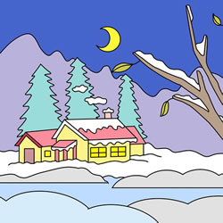 How to Draw a Winter Night Scene Step by Step