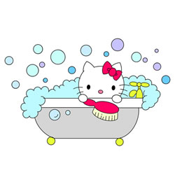 How to Draw Hello Kitty in the Bath Step by Step