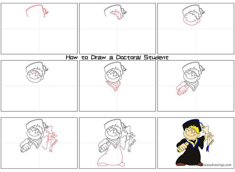 How to Draw a Doctoral Student Step by Step
