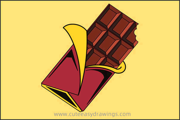 How to Draw a Piece of Chocolate Step by Step