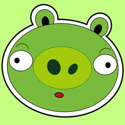 How to Draw a Green Piggy from Angry Birds Step by Step