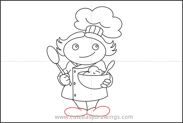 How to Draw a Female Chef Step by Step