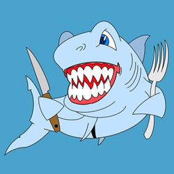 How to Draw a Shark with Tableware Step by Step