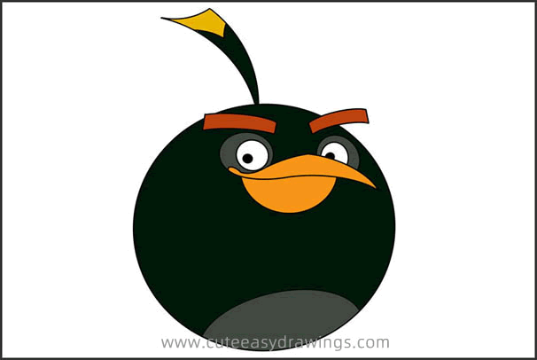 How to Draw Bomb from Angry Birds Step by Step