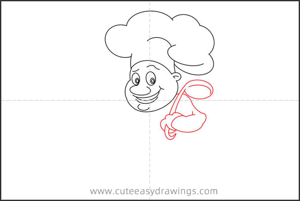 How to Draw a Chef with Spoon Step by Step