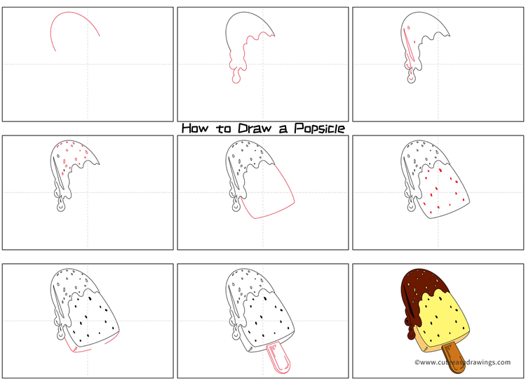 How to Draw a Chocolate Popsicle Step by Step
