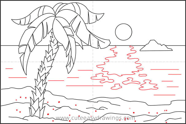 How to Draw Sunset at Sea Step by Step