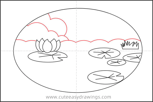 How to Draw a Lotus Pond Step by Step