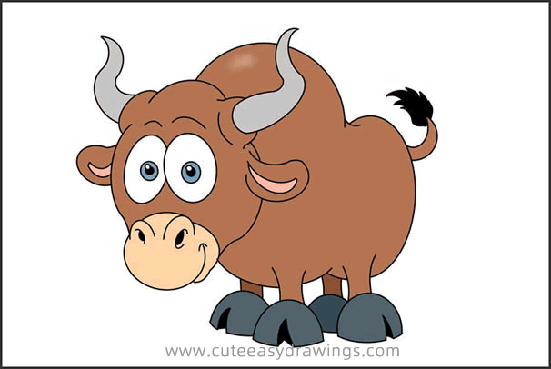 How to Draw a Cartoon Bull Step by Step