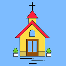 How to Draw a Cartoon Church Step by Step