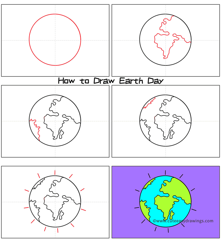 How to Draw Earth Day Step by Step