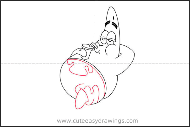 How to Draw Leisurely Patrick Star Step by Step