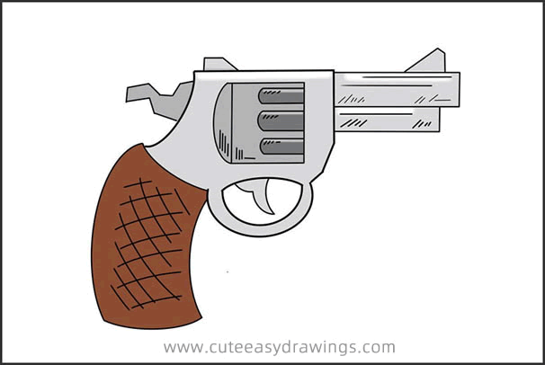 How to Draw a Revolver Step by Step