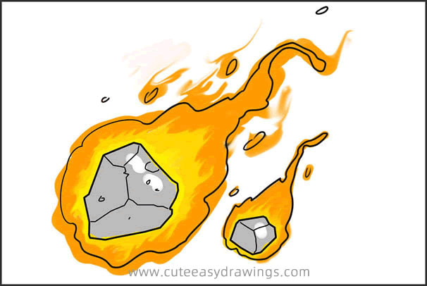 How to Draw a Meteorite Step by Step