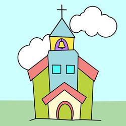How to Draw a Cute Church Step by Step