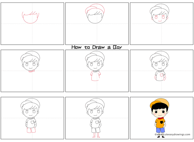 How to Draw a Summer Boy Step by Step