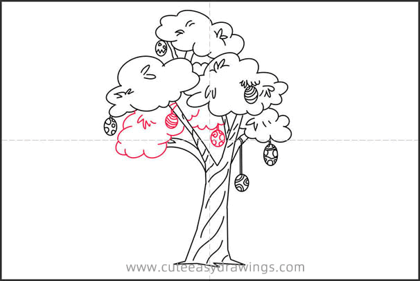 How to Draw an Easter Egg Tree Step by Step