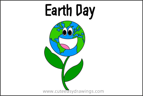 How to Draw Cartoon Earth Day Step by Step