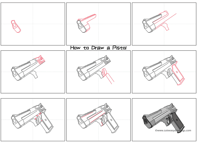 How to Draw a Realistic Pistol Gun Step by Step
