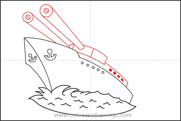 How to Draw a Warship Step by Step