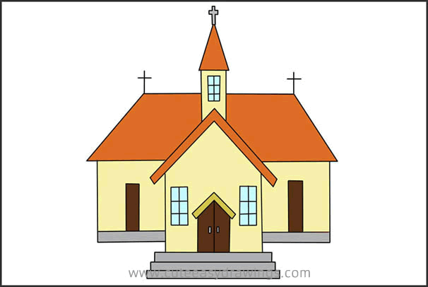 How to Draw a Church Building Step by Step