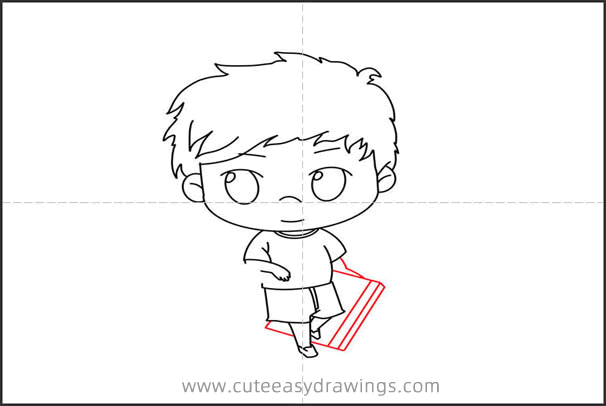 How to Draw a Boy with a Pencil and Notebook Step by Step