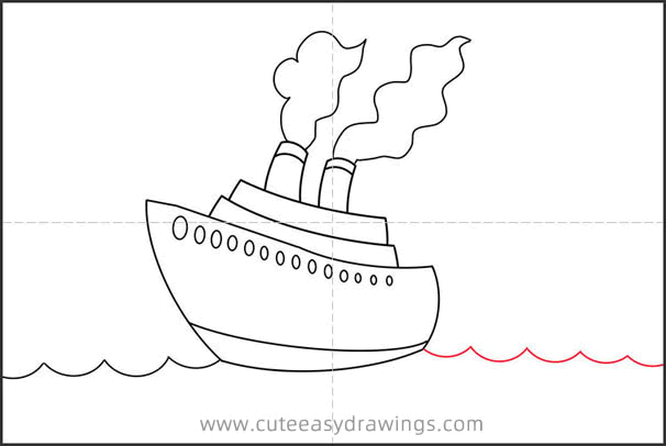 How to Draw a Cruise Ship Step by Step