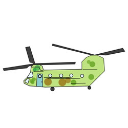 How to Draw a CH-47 Chinook Helicopter Step by Step