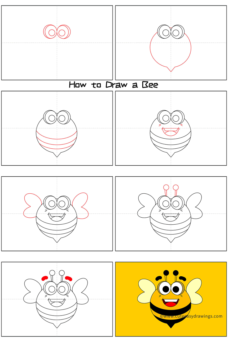 How to Draw a Cartoon Bee Step by Step