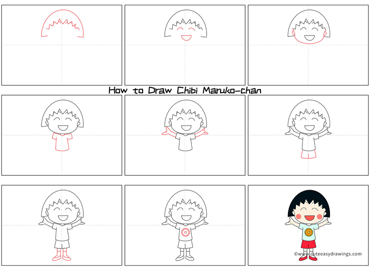 How to Draw Chibi Maruko-chan Step by Step
