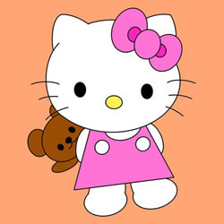 How to Draw Hello Kitty with a Teddy Bear Step by Step