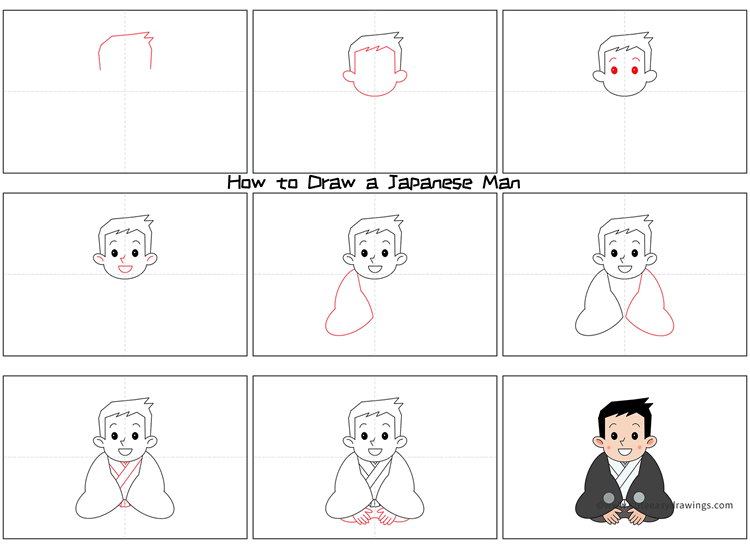 How to Draw a Japanese Man in Kimono Step by Step