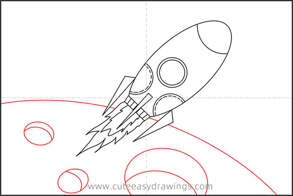 How to Draw a Cartoon Spaceship Step by Step