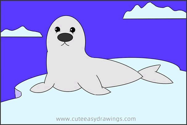 How to Draw a Sea Lion on Ice Step by Step