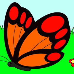 How to Draw a Butterfly in the Flowers Step by Step