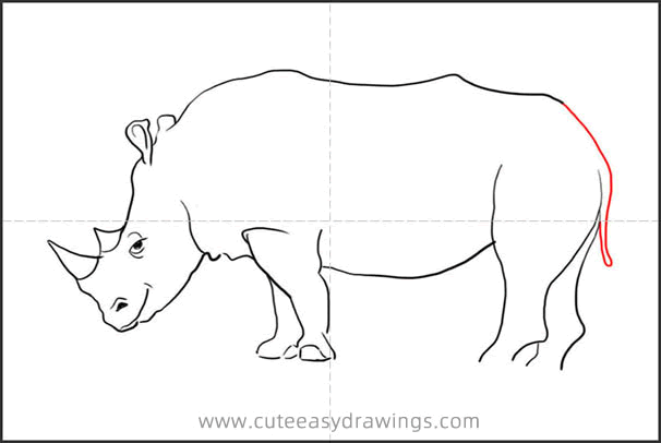 How to Draw a Rhino Standing Step by Step