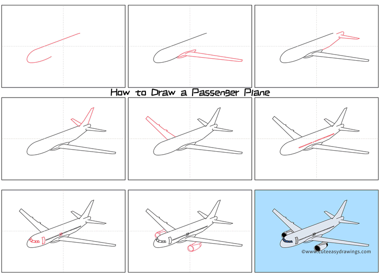 How to Draw an Airplane Step by Step