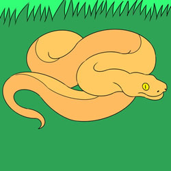 How to Draw a Snake in the Grass Step by Step
