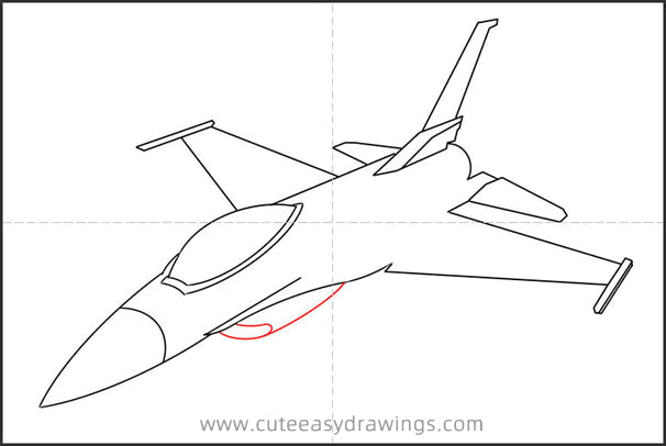 How to Draw F-16 Fighting Falcon Step by Step