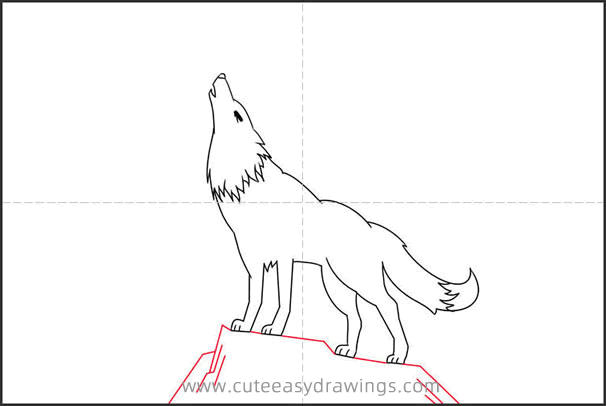 How to Draw a Wolf with Moon Step by Step