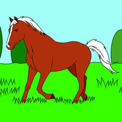 How to Draw a Horse on the Grassland Step by Step