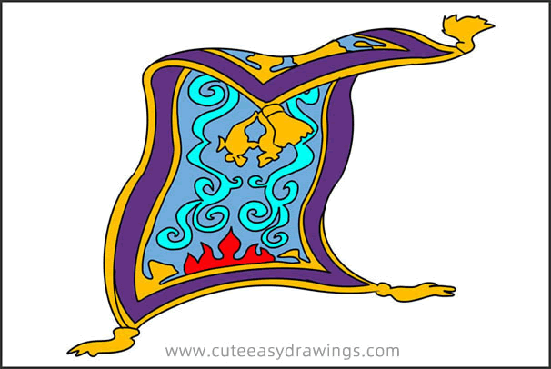 How to Draw the Magic Carpet from Aladdin