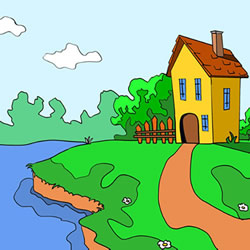 How to Draw a Lakeside Scenery